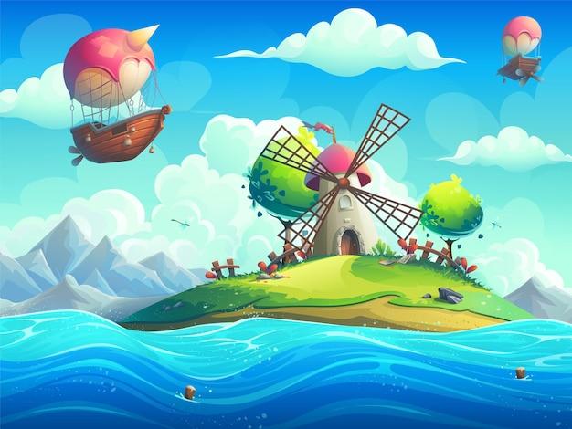 Illustrazione di sfondo di un mulino su un'isola nell'oceano