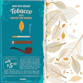 Illustrazioni di sfondo con foglie di tabacco, sigarette e vari strumenti per i fumatori.