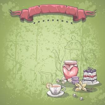 Immagine di sfondo con una tazza di tè, marmellata e torta di more
