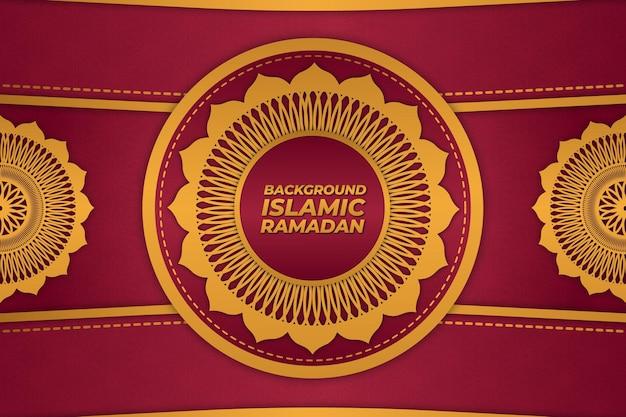 Sfondo islamico ramadan ornamento oro rosso sfumato