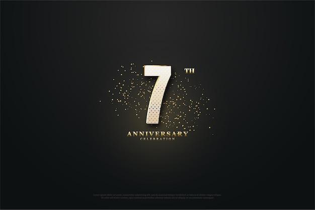 Sfondo per il suo settimo anniversario con numeri luminosi e punti d'oro Vettore Premium