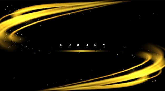 Elemento di design moderno oro lucido di lusso astratto di vettore dell'onda di sfondo con effetto glitter.