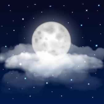 Sfondo del cielo notturno con luna, stelle e nuvole