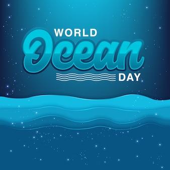 Fondo dell'illustrazione di vettore di giorno dell'oceano