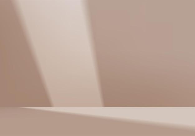 I prodotti di sfondo mostrano la scena del podio con una piattaforma geometrica. rendering in background con podio. stand per mostrare prodotti cosmetici. vetrina del palco su piedistallo display beige studio