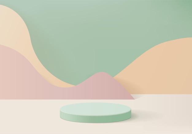 I prodotti di sfondo mostrano la scena del podio con una piattaforma geometrica. rendering in background con podio. stand per mostrare prodotti cosmetici. vetrina della fase su studio verde dell'esposizione del piedistallo
