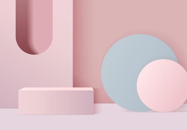 I prodotti di sfondo mostrano la scena del podio con una piattaforma geometrica. rendering in background con podio. stand per mostrare prodotti cosmetici. vetrina del palcoscenico su piedistallo display rosa studio