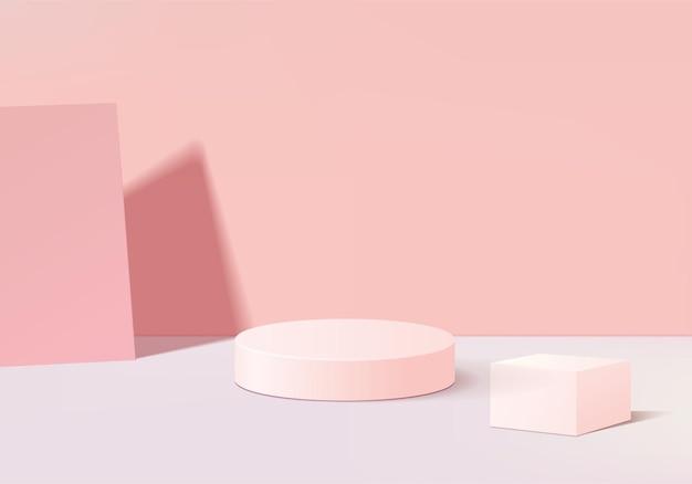 I prodotti di sfondo mostrano la scena del podio con una piattaforma geometrica. rendering in background con podio. stand per mostrare prodotti cosmetici. vetrina del palco su piedistallo display rosa studio