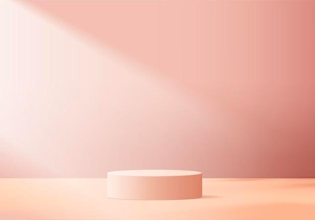 I prodotti di sfondo mostrano la scena del podio con una piattaforma geometrica. rendering in background con podio. stand per mostrare prodotti cosmetici. vetrina di scena su piedistallo display rosa studio