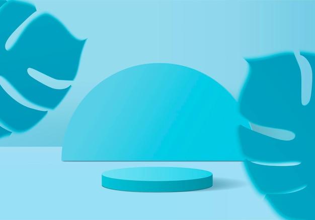 I prodotti di sfondo mostrano la scena del podio con una piattaforma geometrica a foglia verde. sfondo rendering con podio. stand per mostrare prodotti cosmetici. vetrina del palco su piedistallo display blu studio