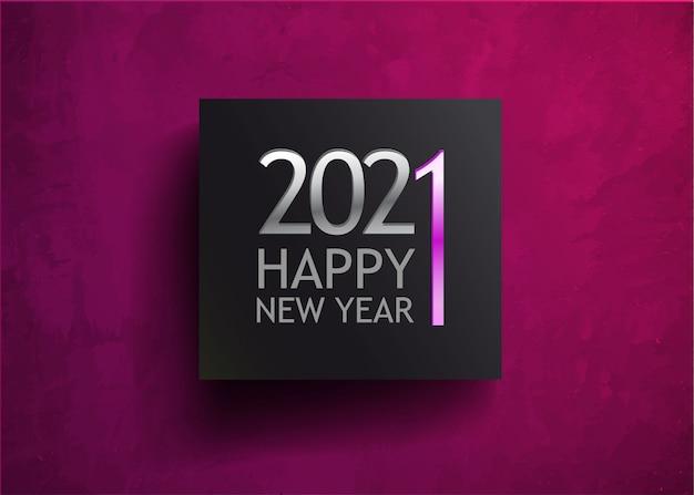 Celebrazione di nuovo anno di colore viola di sfondo nel quadrato nero. presente postale magica. modello di decorazione festiva per le vacanze di natale