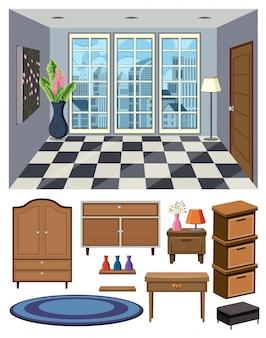 Scena del fondo di stanza vuota e insieme dei mobili su fondo bianco