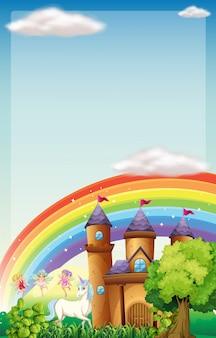 Scena di sfondo con fate e unicorno