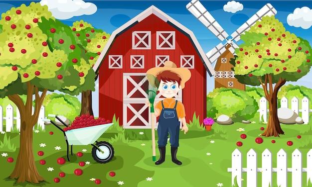 Scena di sfondo con bambino che lavora in fattoria
