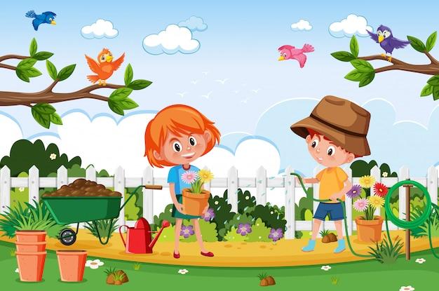 Scena del fondo con i bambini che piantano nel parco