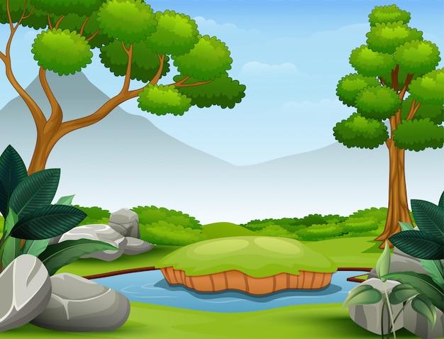 Scena di sfondo con la montagna e lo stagno