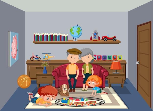 Scena di sfondo con anziani e bambini a casa