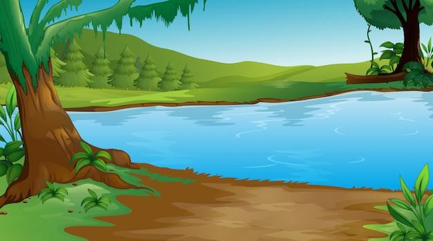 Scena di sfondo con alberi e lago Vettore Premium