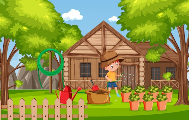 Scena del fondo con la casa di legno nel parco