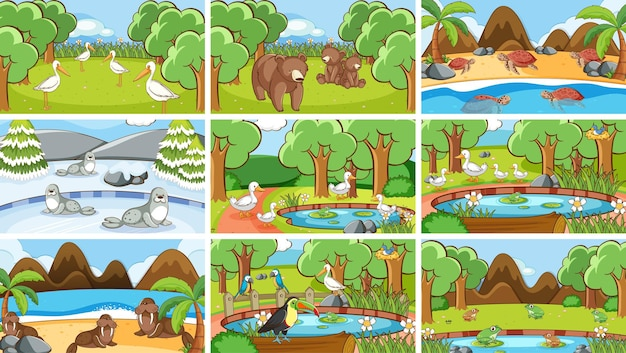 Scene di sfondo di animali allo stato brado