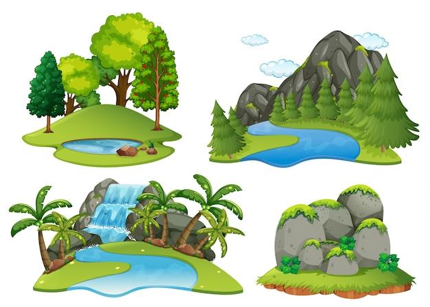 Scene di sfondo con foresta e cascata