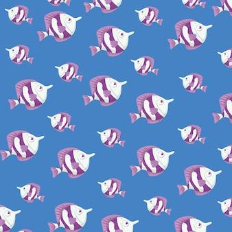 Sfondo, vita sottomarina di mare, pesci carini, colore viola e bianco