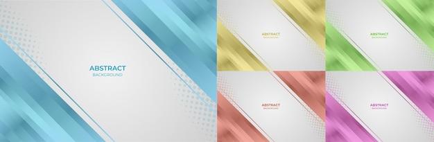 Lo sfondo ha impostato lo stile astratto geometrico del gradiente di colore blu, giallo, verde, arancione e viola. illustrazione vettoriale