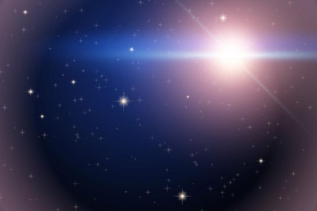 Sfondo dello spazio con stella luminosa