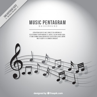 Sfondo di pentagramma con note musicali in toni di grigio