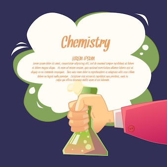 Sfondo per l'insegnamento della chimica in un divertente stile cartone animato. illustrazione con forniture per lezioni di chimica