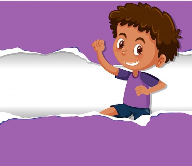 Progettazione del modello del fondo con il ragazzo felice su carta porpora
