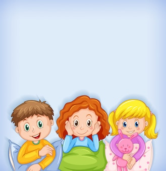 Disegno del modello di sfondo con bambini felici in pigiama