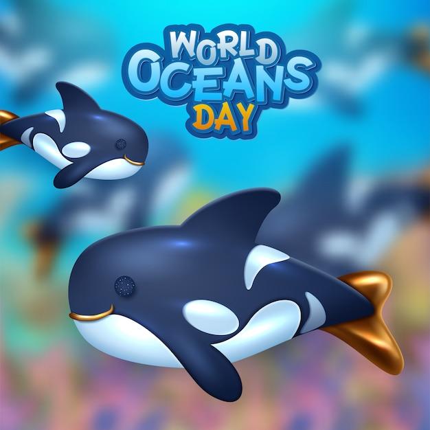 Sfondo sul tema della giornata mondiale degli oceani. illustrazione