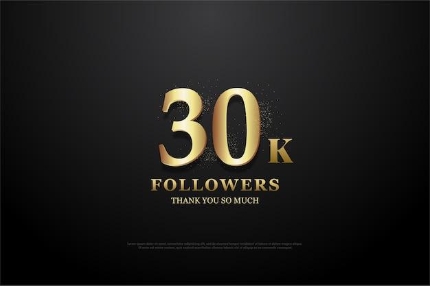 Sfondo per trentamila seguaci con numeri oro e neri