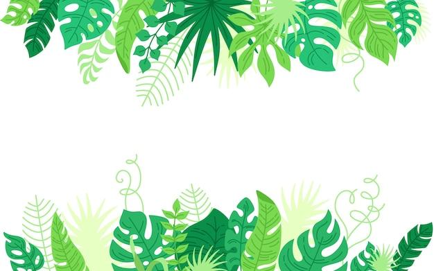 Sfondo di foglie tropicali cornice