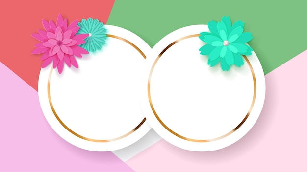 Sfondo di due cornici circolari bianche con strisce dorate e fiori di carta colorata