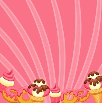 Sfondo gelato alla vaniglia, cupcake alla fragola e ciambella con glassa rosa.