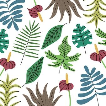 Sfondo di varie piante della giungla tropicale modello di foglie esotiche