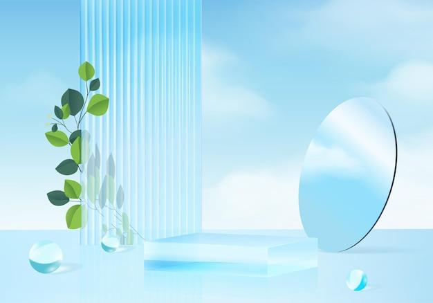 Sfondo vettoriale rendering 3d blu con podio e scena minima della nuvola, sfondo del display del prodotto minimo 3d reso forma geometrica cielo nuvola blu pastello. stage 3d render prodotto in piattaforma