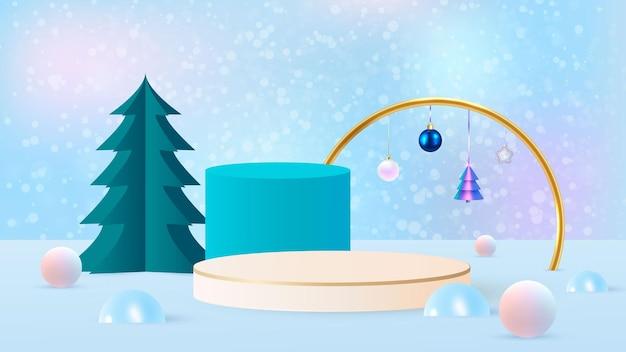 Vettore di sfondo rendering 3d blu con podio e scena minima del nuovo anno, sfondo di visualizzazione del prodotto minimo 3d rendering di forma geometrica. illustrazione vettoriale