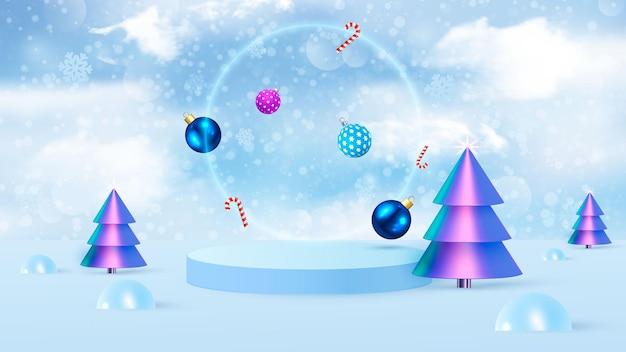 Vettore di sfondo rendering 3d blu con podio e scena minima del nuovo anno, sfondo di visualizzazione del prodotto minimo 3d rendering di forma geometrica. vettore
