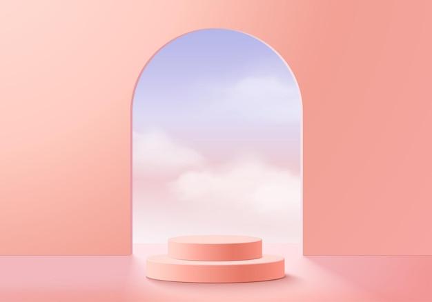 Sfondo vettoriale rendering 3d rosa con podio e scena minima della nuvola, sfondo del display del prodotto minimo 3d ha reso la forma geometrica del cielo nuvola rosa pastello. stage 3d render prodotto in piattaforma