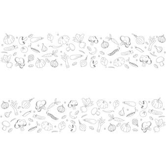 Sfondo in stile doodle di verdure verdure disegnate a mano nere su sfondo bianco
