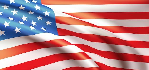 Priorità bassa che fluttua nella bandiera americana del vento.
