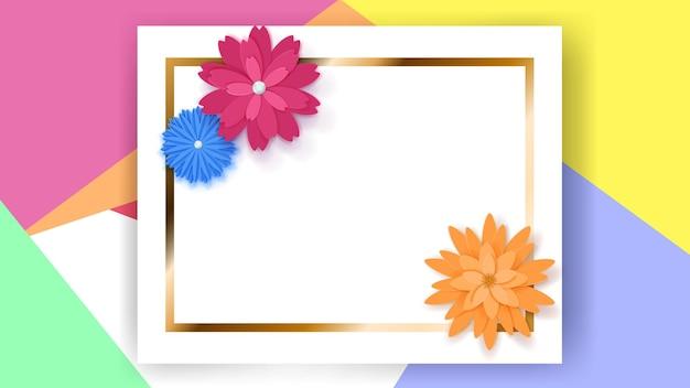 Sfondo di cornice rettangolare bianca con striscia dorata e fiori di carta colorata