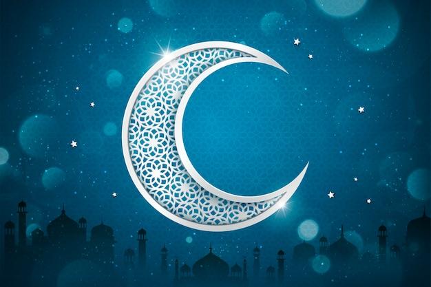 Sfondo con mezzaluna intagliata su sfondo blu glitter, elementi silhouette moschea