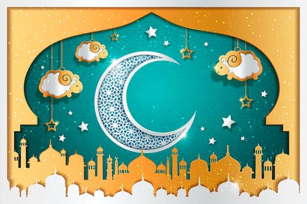 Sfondo con mezzaluna scolpita e pecore appese al cielo, decorazioni a cupola a cipolla della moschea in colore turchese e oro
