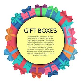 Sfondo con scatole regalo colorate. illustrazione vettoriale.