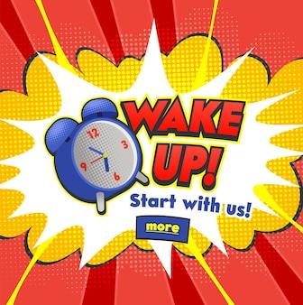 Sfondo con sveglia comica che suona e fumetto di espressione con testo di sveglia.