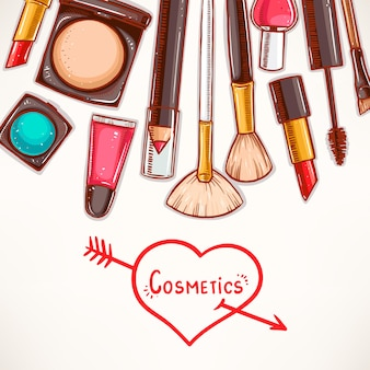 Sfondo con cosmetici decorativi. illustrazione disegnata a mano